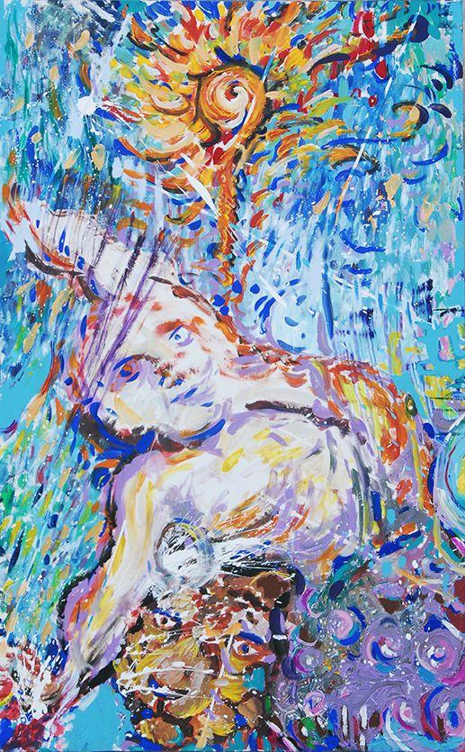 """Nella sala affollata di visitatori, immersi per circa due ore in un'atmosfera surreale di suoni e colori, i partecipanti all'happening de """"La Stanza del Colore"""", tornati bambini, hanno lasciato emergere forme archetipiche giocando con i colori acrilici, per relazionarsi tra loro attraverso il suono, il segno empatico, la forma, la luce e l'ombra, diventando così protagonisti nel """"processo"""" innescato dall'artista per la ricerca della bellezza attraverso la condivisione."""