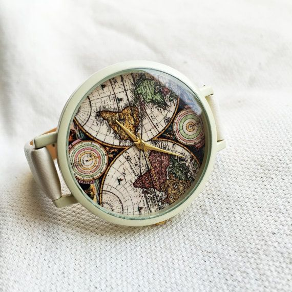Watches for Women World Map Leather Vintage Style by FreeForme
