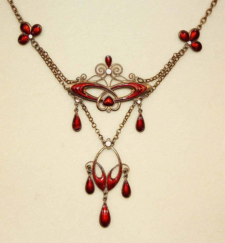 RARE DESIGN!  C.1900 Marius Hammer Silver & Enamel Festoon Necklace!