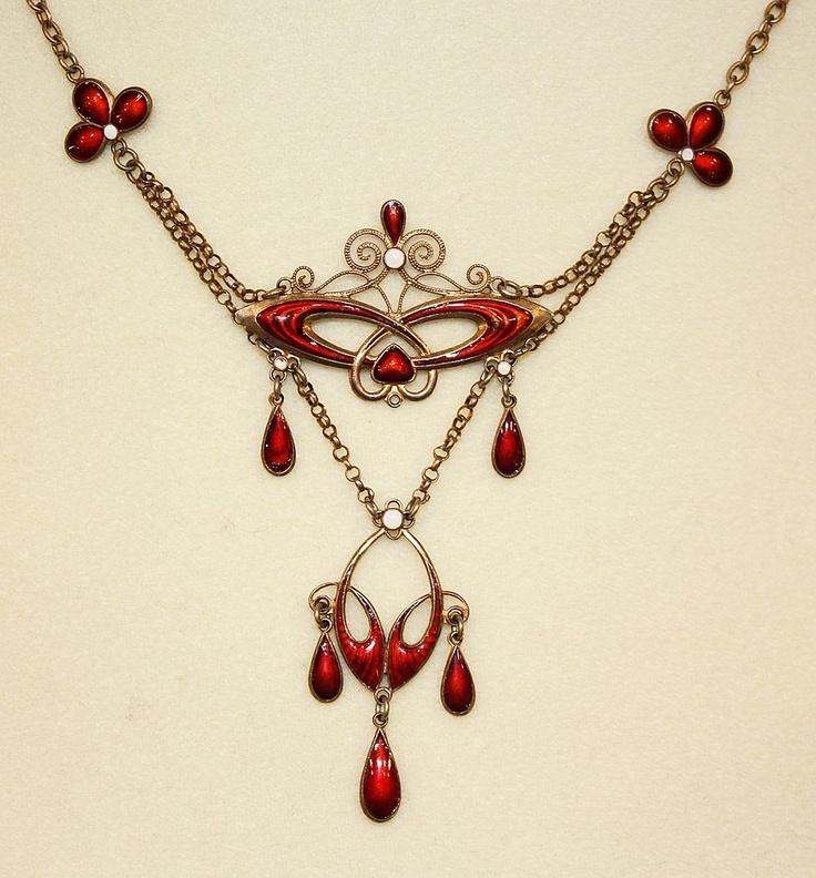 RARE DESIGN!  C.1900 Marius Hammer Silver & Enamel Festoon Necklace!