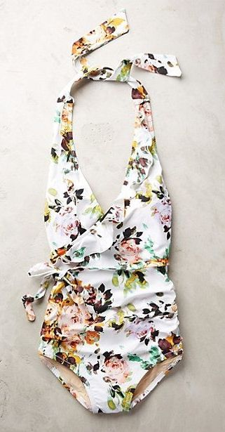 Anthropologie for the cutest one-piece halter swimsuits.