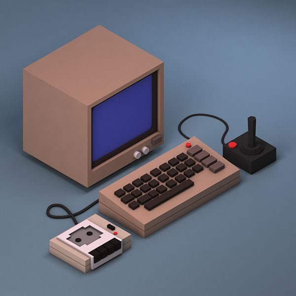 Isometric low poly Commodore 64 by Michiel van den Berg