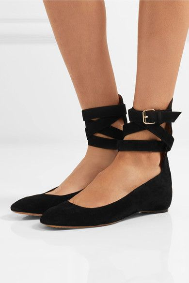 Valentino - Suede Ballet Flats - Black - IT35.5