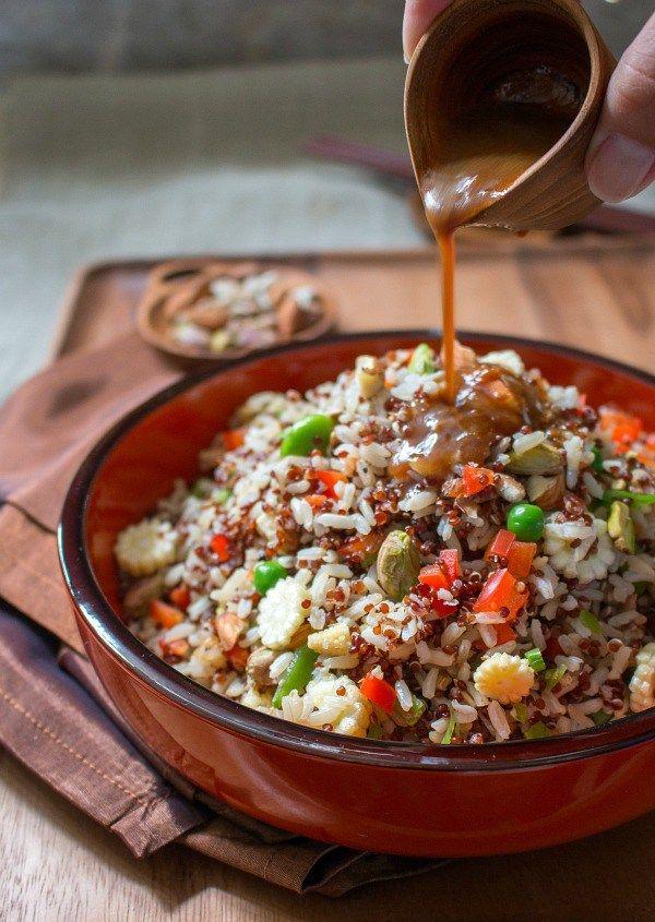 Nutty Ginger Tamari Quinoa Salad / http://bamskitchen.com: