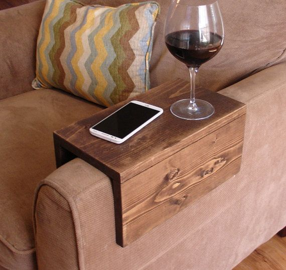 Handmade arm rest tray table. The perfect addition to a sofa in any home, apartment, condo, or man cave. It has been sanded down, then stained and