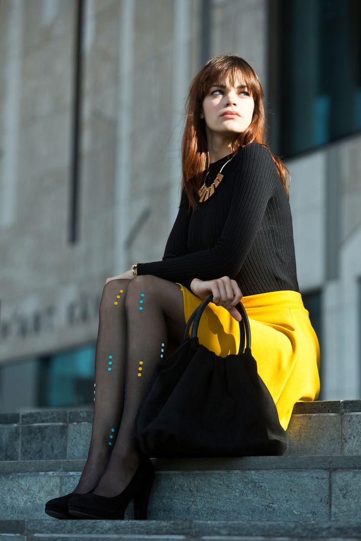 Praha tights by Virivee. 20 denier black tights in S-XL sizes. Unique designer tights!