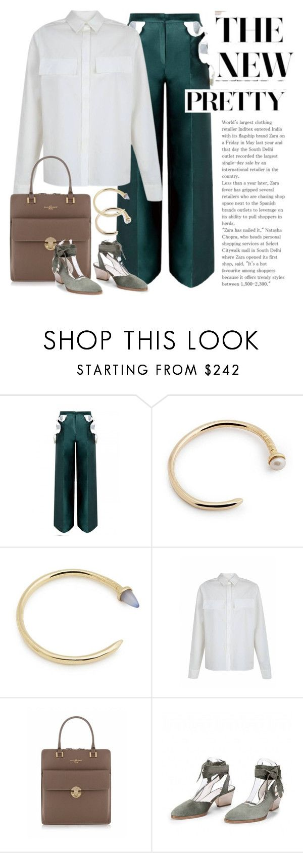 """""""Emerald Silk Palazzo Pants"""" by runway2street ❤ liked on Polyvore featuring The 2nd Skin Co. and Zoe Lee"""
