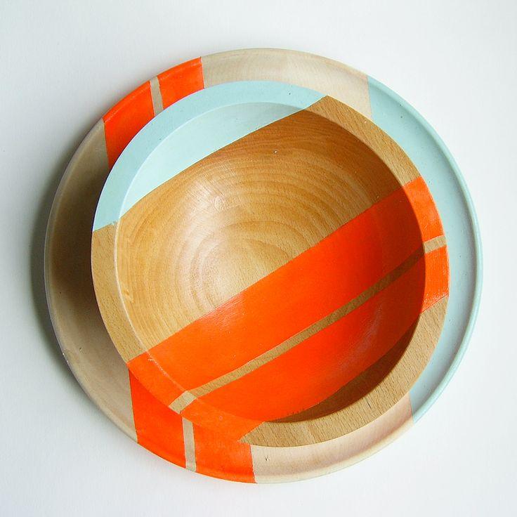 """Modern Neon Hardwood 7"""" Bowl, Electric Orange. $40.00, via Etsy.Wooden Bowls, Sr. Porter, Neon Hardwood, Painting Wood, Wood Bowls, Nicole Porter, Modern Neon, Salad Bowls, Surface Design"""