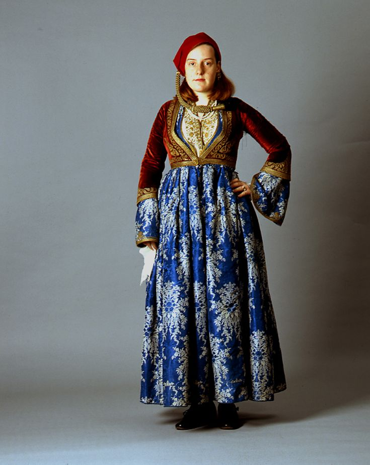 "Front and back, late 19th c. ""Amalia"" costume ensemble belonging to the Metaxas family of Nafplion - 1910-15"