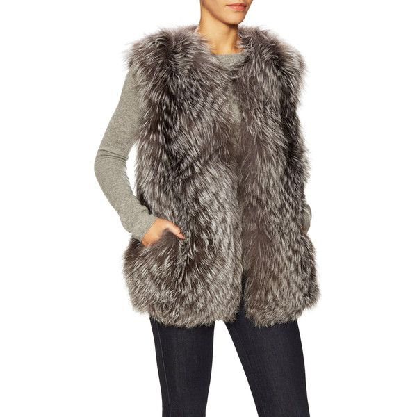 PURE NAVY Women's Natural Fox Fur Vest - Cream/Tan, Size L ($600) ❤ liked on Polyvore featuring outerwear, vests, navy blue vest, brown vest, fox fur vest, tan waistcoat and cream vest