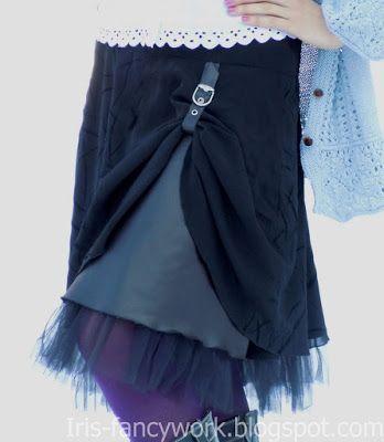 My Fancywork Blog: Нарядная комбинированная черная юбка с оборкой из ...