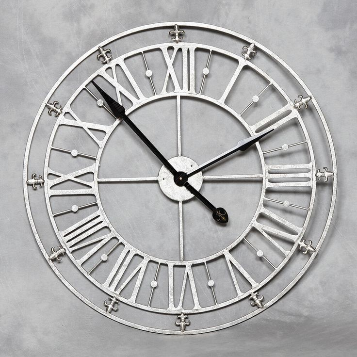Large Round Roman Numerals Silver Metal Iron Wall Clock