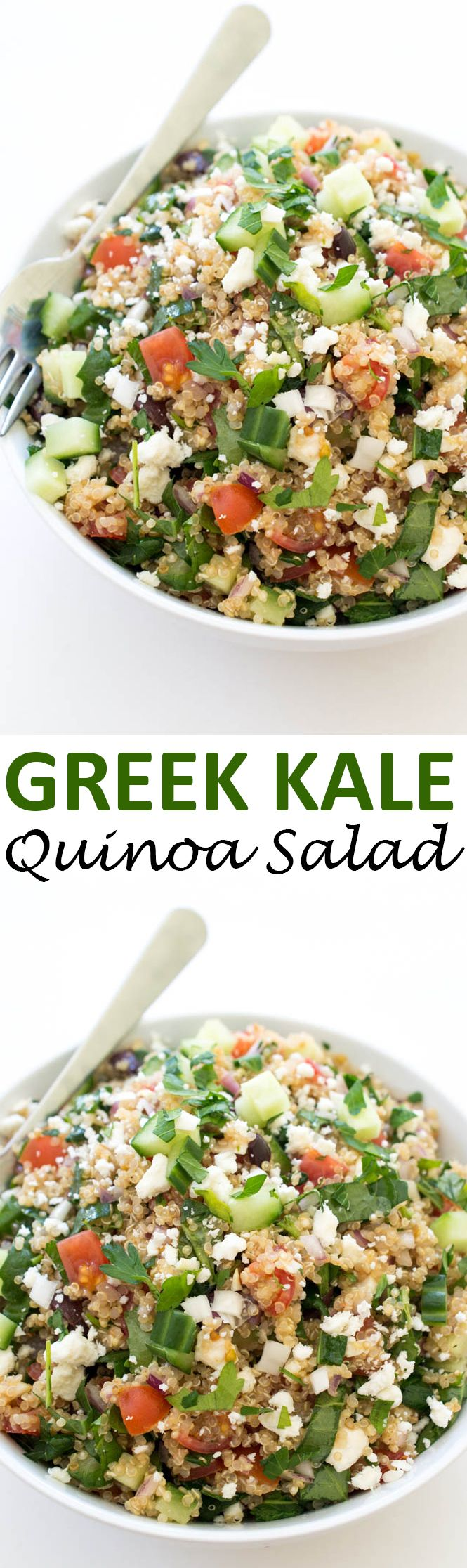 30 Minute Greek Kale Quinoa Salad ~ loaded with tons of vegetables and tossed with lemon and olive oil!