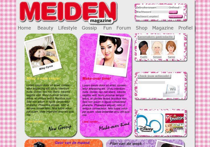 Vertaling Meiden Magazine naar website concept. Communicatieplan om doelgroep te activeren om de website te bezoeken. Gemaakt in groepsverband.  Gemaakt in course Remediate tijdens propedeuse jaar (jan. 2010). Website gerealiseerd in HTML/CSS.