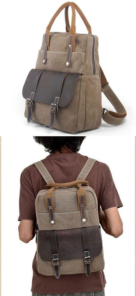 So nice backpack ! Useful Multi-function Leather Briefcase Splicing Large Canvas Travel Handbag Backpack #backpack #large #canvas #travel #leather #bag #rucksack