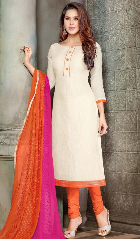 Appear as pretty as pretty can be in this off white color chanderi silk churidar kameez. This engaging dress is showing some superb embroidery done with resham and lace work.  #straightdresses #straightcutchuridardress #chanderisilksuit