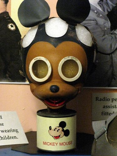 WW2 Mickey Mouse gas mask to encourage young children to wear them