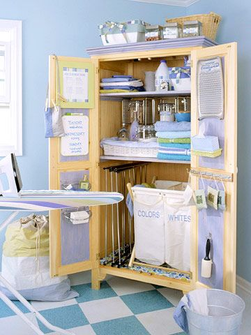 Get Organized Convert an unfinished armoire into a laundry center that keeps everything organized for wash day. Attach wall-mount bathroom accessories to the doors to hold soap, dryer sheets, lint rollers, and other cleaning items. Space the movable shelves to accommodate freestanding laundry bags in the lower part of the cupboard. Shelf stackers (normally used in kitchen cabinets) maximize storage space on the shelves above