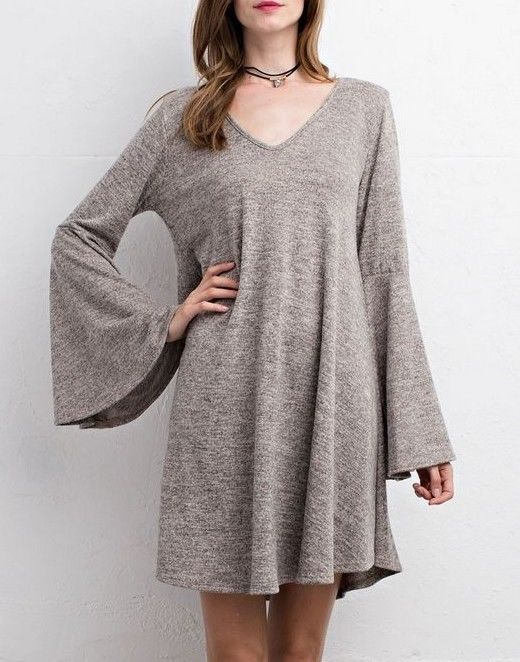 SOUTHERN GIRL FASHION Bell Sleeve Swing Dress Long Draped Mini Sweater Tunic NEW  | eBay
