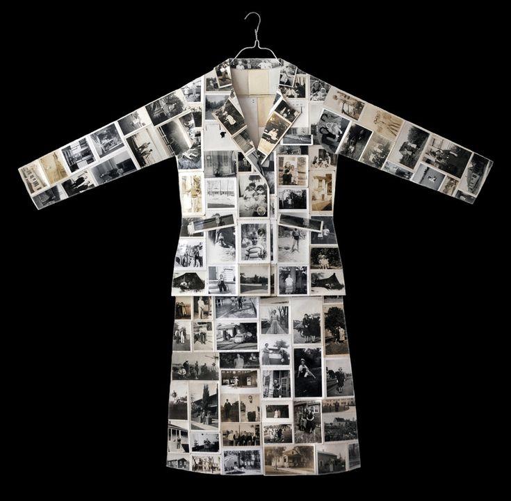 "Jane Waggoner Deschner ~ ""family suit"" (2009) hand-embroidered snapshots, 52.5 x 46 x 2 in. via janedeschner.com | Garment Series"