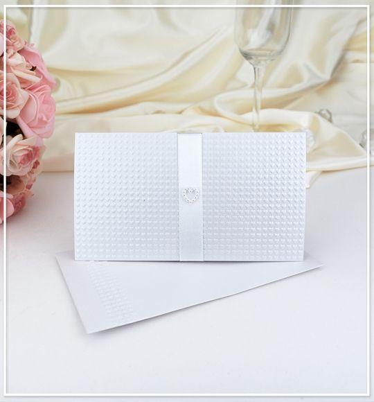 Bílé luxusní svatební oznámení z perleťového paíru se srdíčky - G908 : svatební oznámení