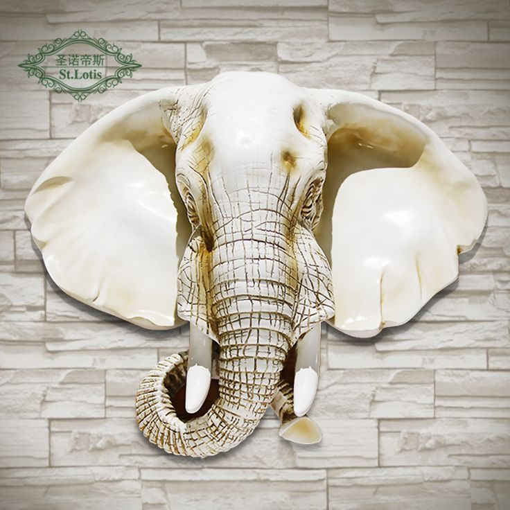 Find More Statues Sculptures Information About 2016 Real New European Elephant Head Hanging The Living Room W Wall Ornaments Living Room Wall Shop Wall Decor