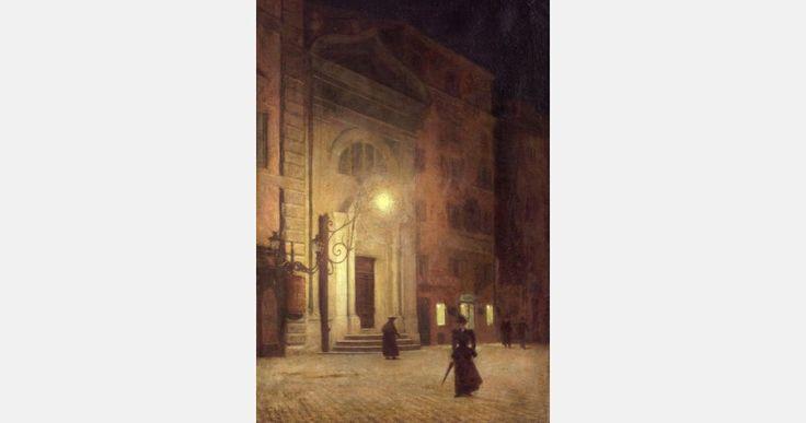 """Aleksander Gierymski, """"Piazza Colonna w Rzymie w nocy"""", 1895, olej, płótno, 73,5 x 48 cm, fot. Lwowska Galeria Sztuki"""