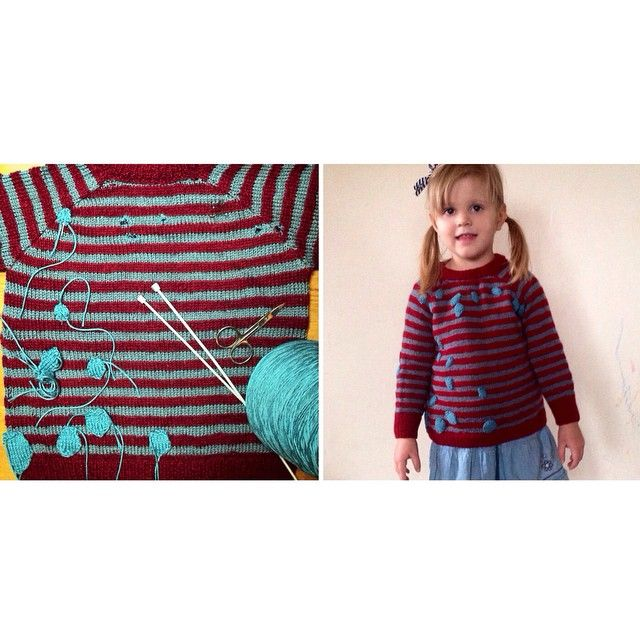 I've found this sweater in the storage in my parents' house attic. My grandma knit it for me years ago :) Unfortunately moths has found it too and made lots of little holes in it! I've decided to mend the sweater for Zoja :D Voilà! ;) #knit #knitting #knitted #handmade #sweater #kidsfashion #slowfashion #recycling #upcycling #vintage #fun #queenzoja