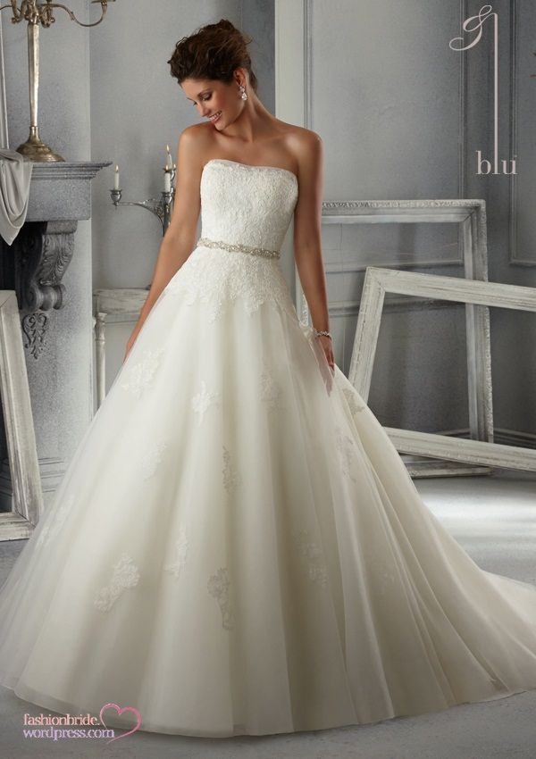 snow white wedding dress by Mori Lee