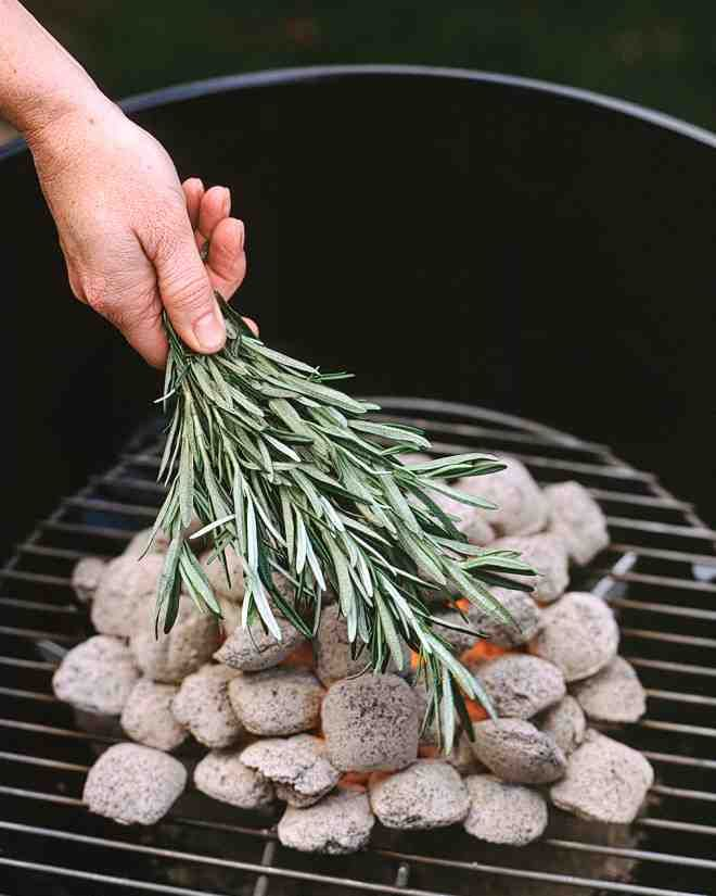 Rosemary Coals - Instead of making a marinade with rosemary for grilling, place the herb right on the coals. The smoke enhances food in the same way burning wood chips does. Once the coals are uniformly gray and ashy, loosely cover them with fresh rosemary branches (be careful not to burn your hands). Almost any meat or vegetable will benefit from this savory smoking.