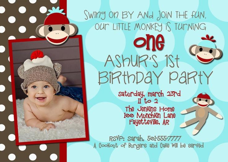 Sock Monkey Birthday Invitation. $10.00, via Etsy.