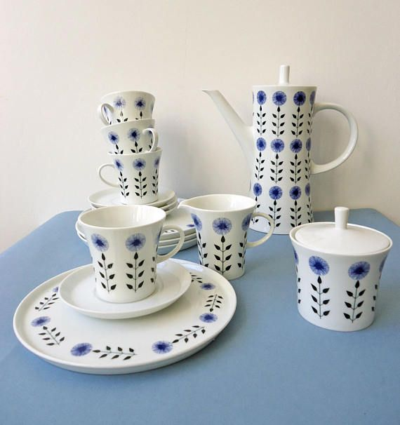 Melitta Paris.Blue groen wit. Cornflower.Jupp Ernst. Vintage koffie Set voor 4. Zomer decor. Kornblume. Sommerfarben