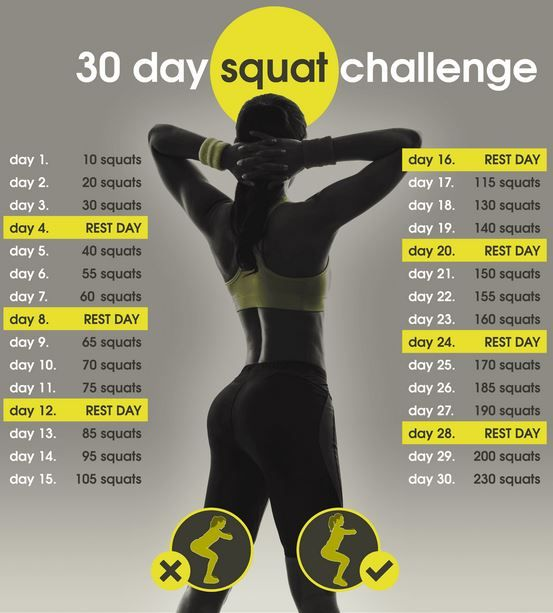 30 DAY SQUAT CHALLENGE: Simply print out the plan and perform the exercises listed for each day #squat #30daychallenge