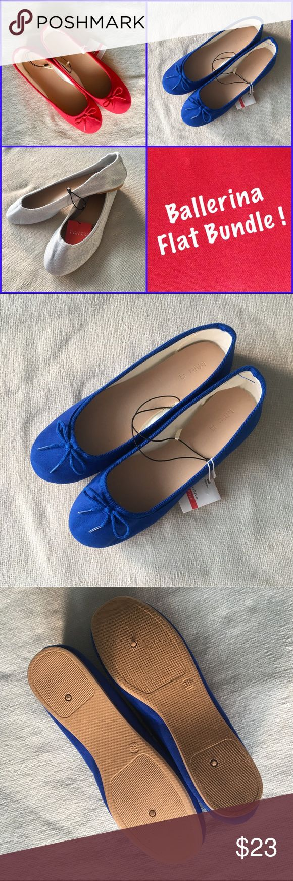‼️Lefties (Zara) Size 38 Ballerina Flat Bundle ‼️ New with tags 3 pairs of Lefties (Zara brand) Ballerina Flat Bundle. Size 38. These flats are very soft and confortable shoes. Colors are blue, red (both with a little bow detail design) and grey-silver (basic design). For your everyday looks or for your Christmas gifts 🎁 !!! Lefties Shoes Flats & Loafers