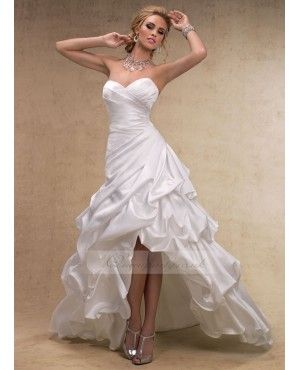 white/purple high low dresses | Satin High-low Hemline Ruched Bodice Pick-up Skirt Wedding Dress With ...