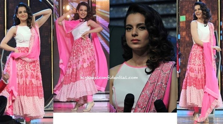 Wearing what we think might be an Anita Dongre suit, Kangna flagged off promotions for her upcoming movie on the sets of a television show. It's been a while since we saw her do Indianwear and this appearance sure made for a welcome change.  Though iffy on the bodice of the suit with its piping (which almost makes it look like the top half of a sheath), it's got to be said, Kangna made it work. She looked nice!