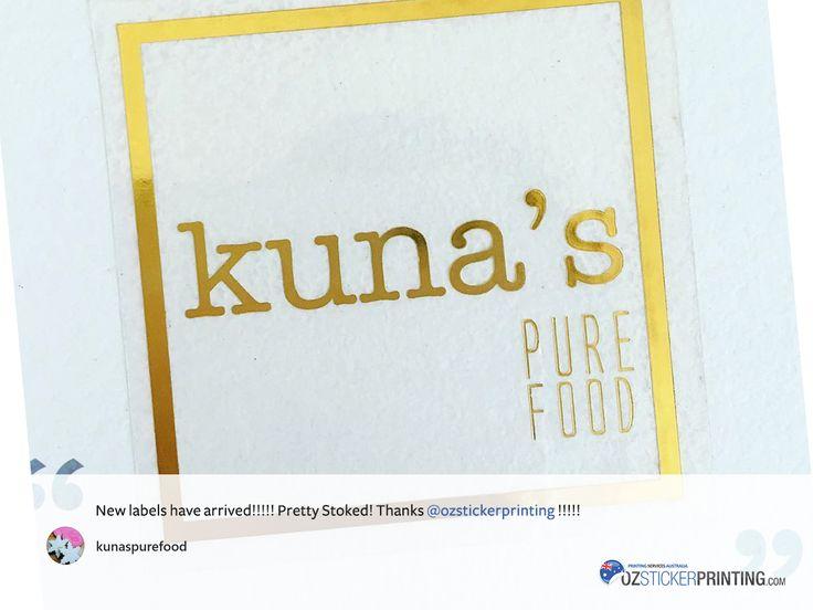 Kuna's Pure Food #TransparentStickers (Gold Foil)  #stickers #customstickers #stickerprinting #labels #Sydney #australia