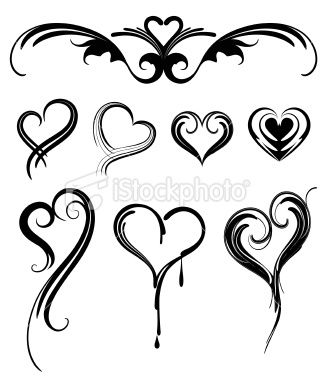 Heart Shaped Tattoos Royalty Free Stock Vector Art Illustration