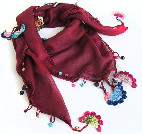 Claret red scarf made by bead and lace handiwork by SEVILSBAZAAR
