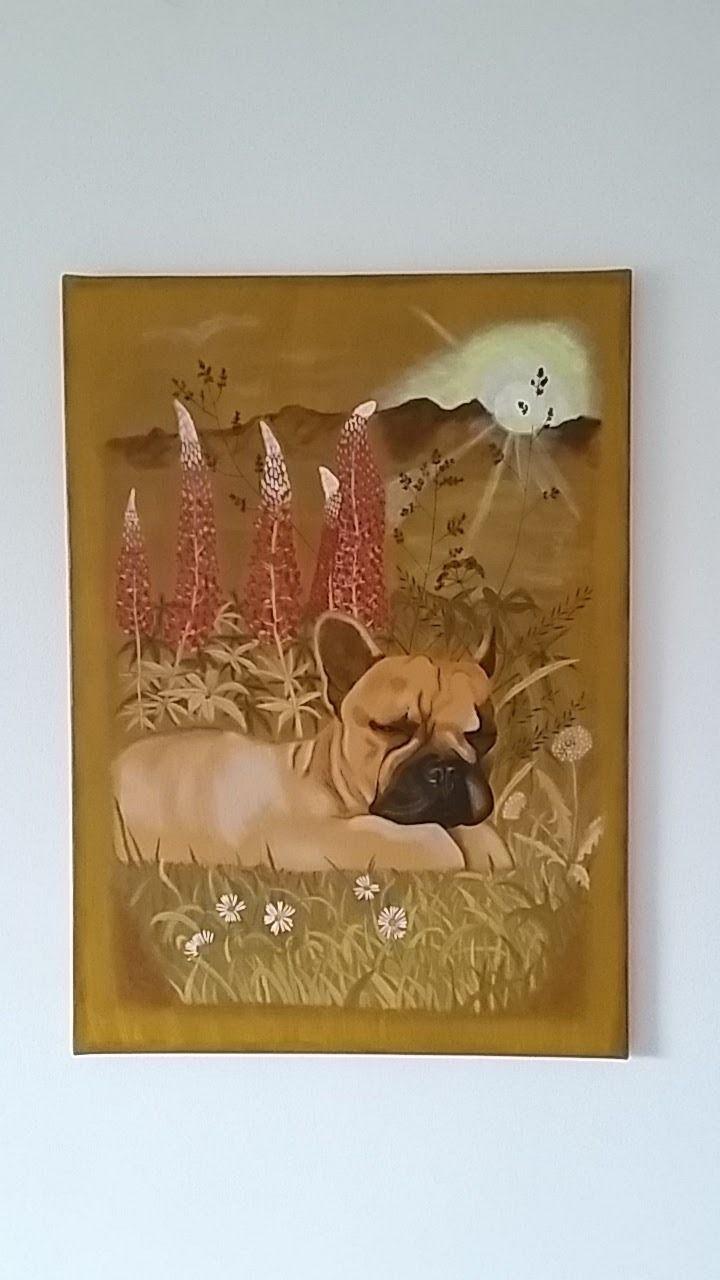 FRENCH BULLDOG  Acrylic colours, original, 50x70cm