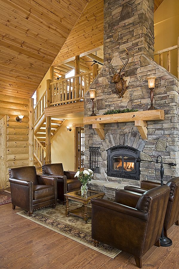 Log Home Photos | Fireplaces & Special Spaces › Expedition Log Homes, LLC