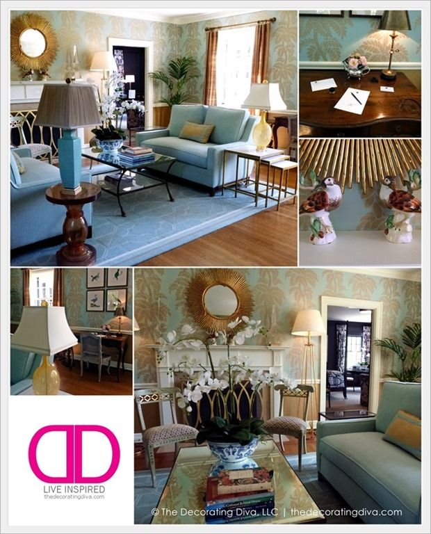 Blue, White and Gold Accented Sitting Room by Lisa Kahn for Greensboro Junior League Adamsliegh Showhouse | The Decorating Diva, LLC