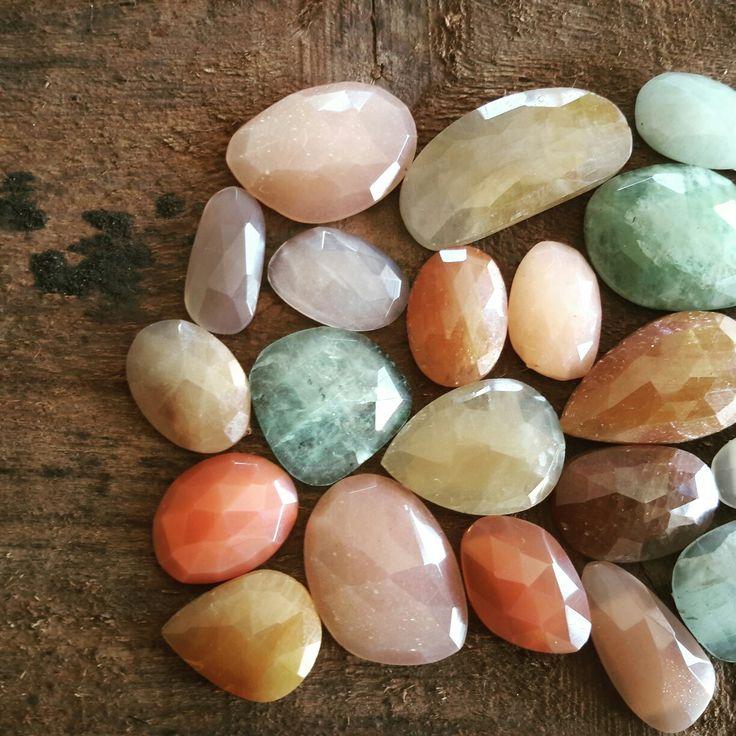 Beautiful autumn colours. Natural gemstones. Moonstone, Sapphire, Aqua Marine.