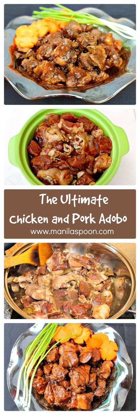This is my family's favorite version of this classic Filipino dish - Pork and Chicken Adobo! So easy to make and so flavorful. | manilaspoon.com