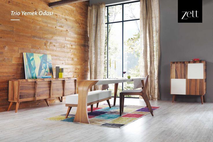 Konik ayakları, üçgen formu ve retro ayak yapısı ile Trio Yemek Odası.  #zettdekor #mobilya #furniture #ahşap #wooden #yatakodasi #bedroom #yemekodasi #diningroom #ünite #tvwallunits #yatak #bed #gardrop #wardrobe #masa #table #sandalye #chair #konsol #console #dekor #decor #dekorasyon #decoration #koltuk #armchair #kanepe #sofa #evdekorasyonu #homedecoration #homesweethome #içmimar #icmimar #evim #home #inegöl #bursa #turkey