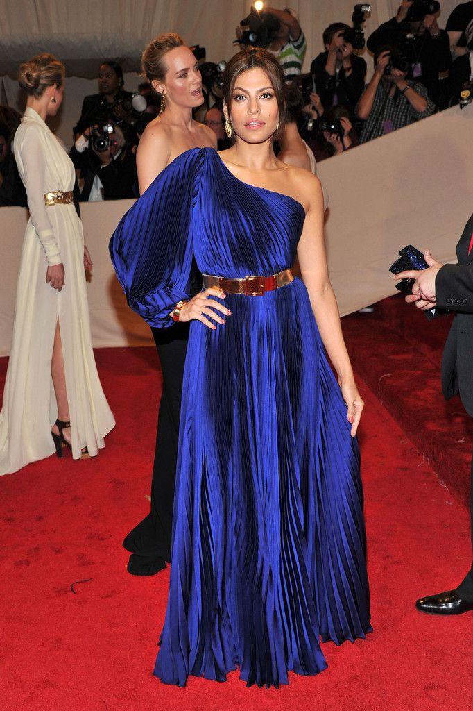 Blue dress red carpet 70s
