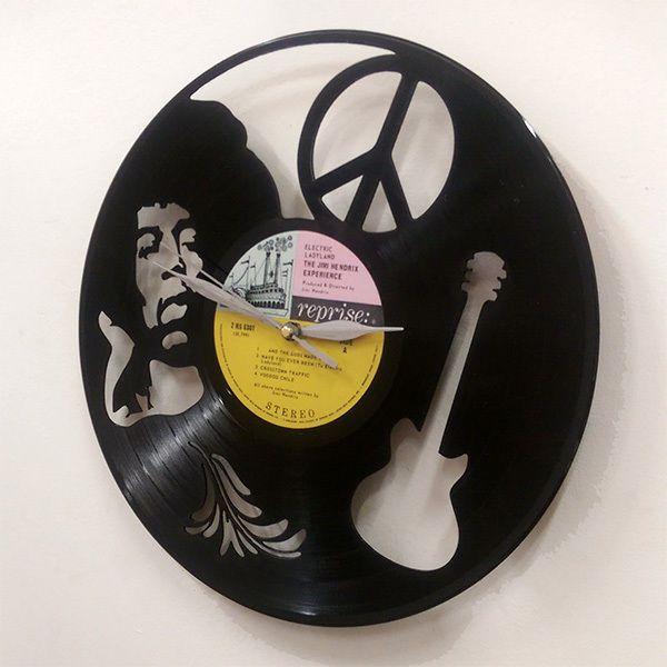 jimi hendrix wall art vinyl lp record clock or framed great rock n roll gift rock n 39 roll. Black Bedroom Furniture Sets. Home Design Ideas