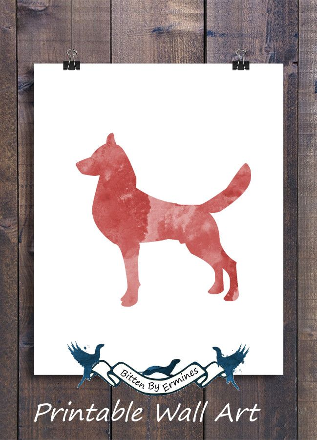 Red dog print, Red dog pictures, Water color prints, Nursery art ...