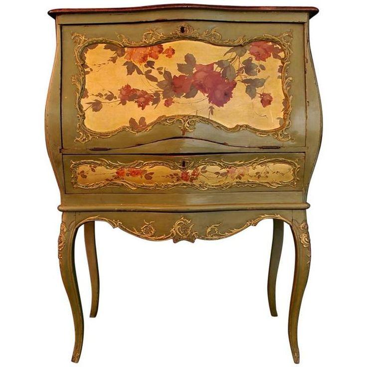 Beautiful French 19th Century Hand Painted Secretary Desk