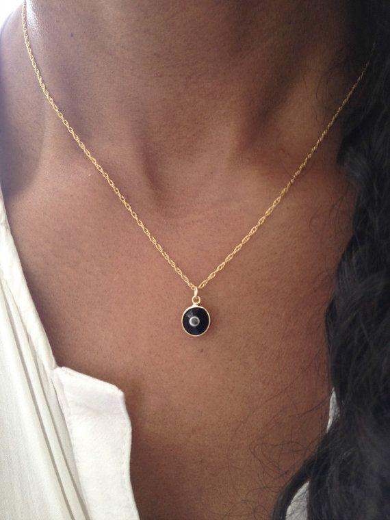 Gold Evil Eye Necklace/ Black Evil Eye Necklace/ Swarovski Black Gemstone Necklace/ Best Friend Birthday Gift/ Christmas Gift